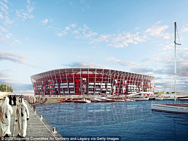 An artist's impression of the Ras Abu Aboud Stadium, which is set to host the World Cup final. Source: Daily Mail.