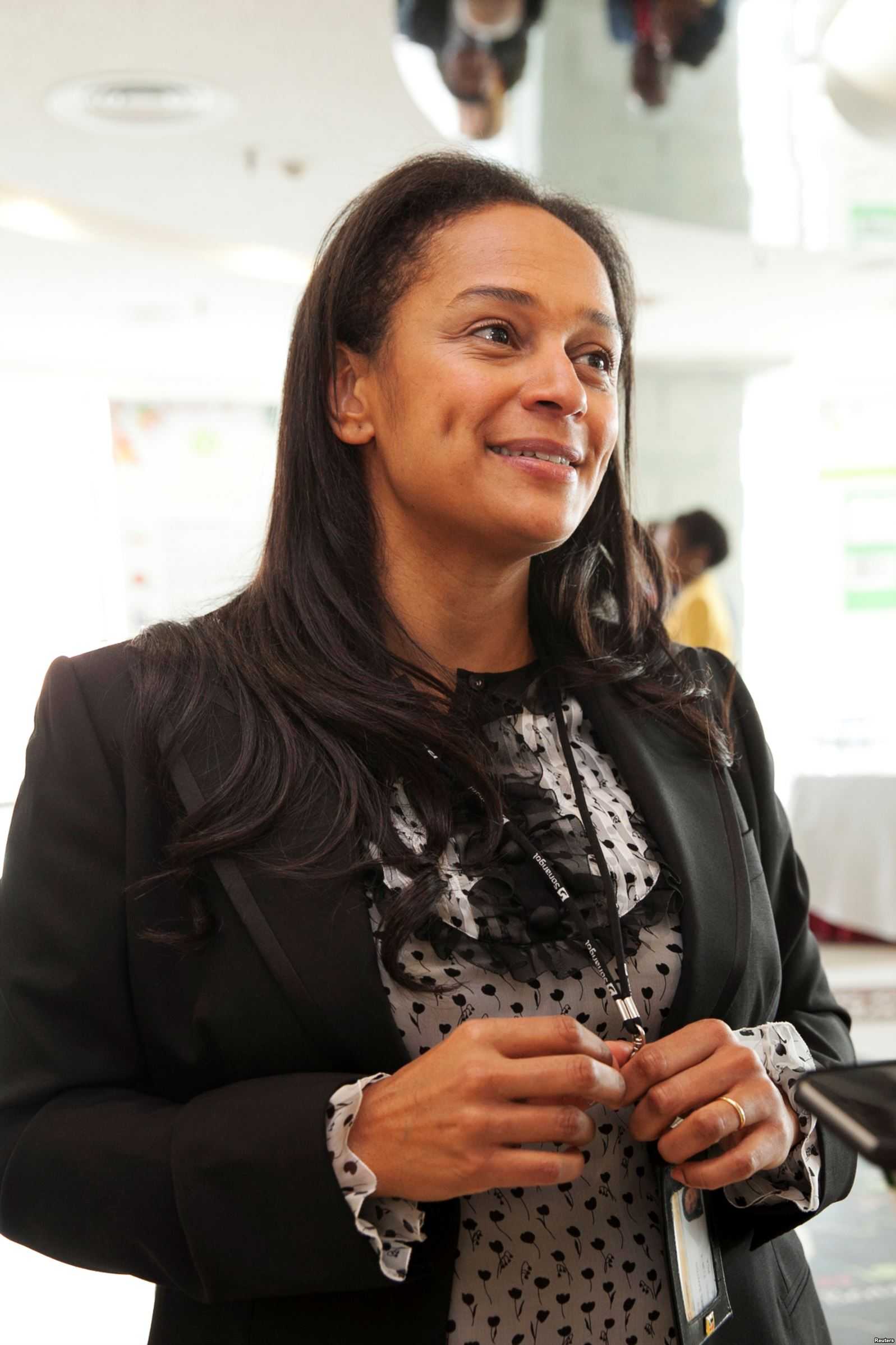 Isabel dos Santos, then-head of state energy giant Sonangol, speaks during an interview in Luanda, Angola, June 9, 2016.