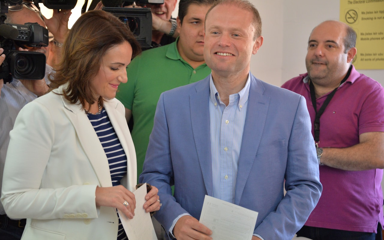 Malta's Prime Minister Joseph Muscat and his wife Michelle, voting in the June 2017 snap election sparked by Galizia's accusations