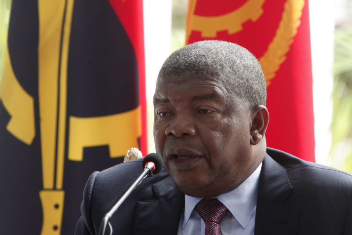 Angolan President Joao Lourenco gives his first press conference after his election on January 8, 2018 to mark his first 100 days in office at the Presidential Palace in Luanda.