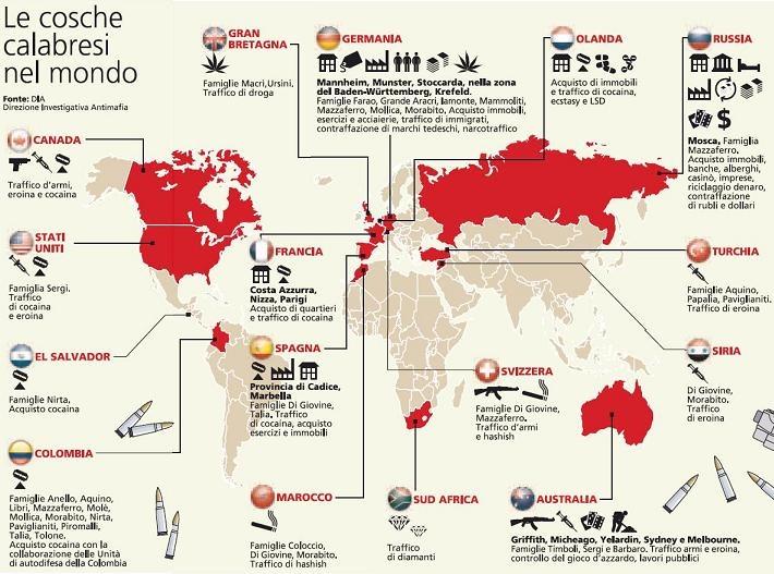Карта деятельности ОПГ Ндрангета