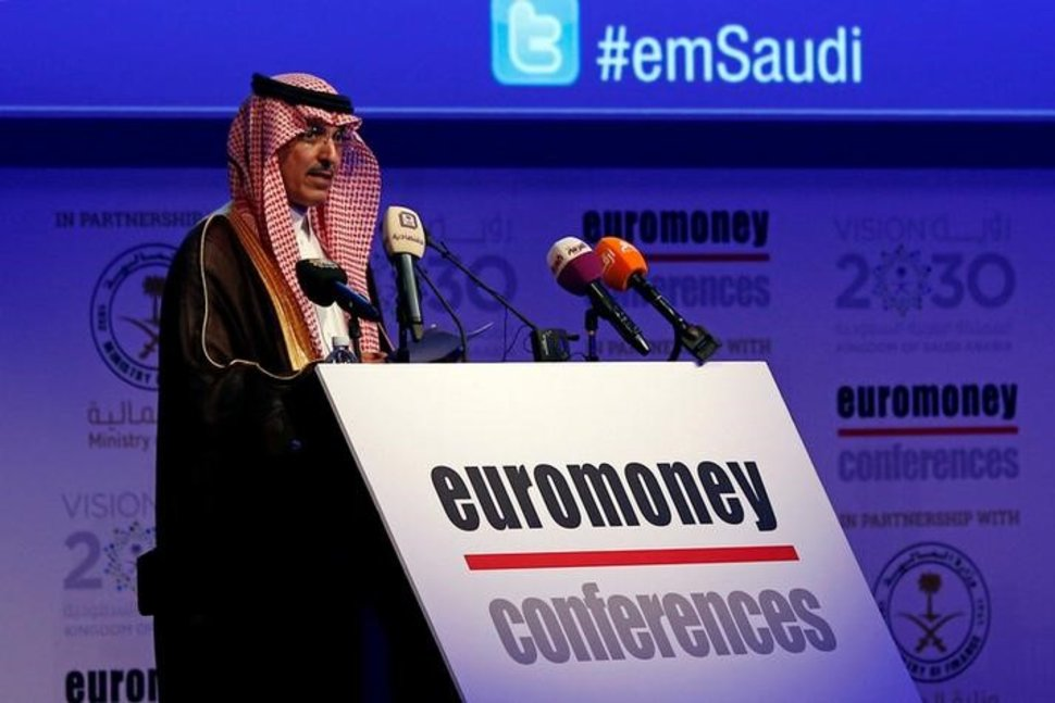 FILE PHOTO: Saudi Minister of Finance Mohammed al-Jadaan speaks during the Euromoney Saudi Arabia Conference 2017 in Riyadh, Saudi Arabia May 2, 2017. Source: REUTERS/Faisal Al Nasser Reuters.