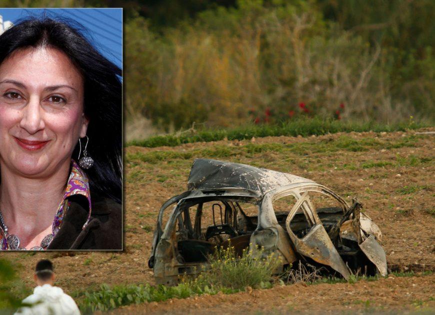 A forensics expert walks in a field after a powerful bomb blew up a car (Rear) killing investigative journalist Daphne Caruana Galizia in Bidnija, Malta, October 16, 2017.
