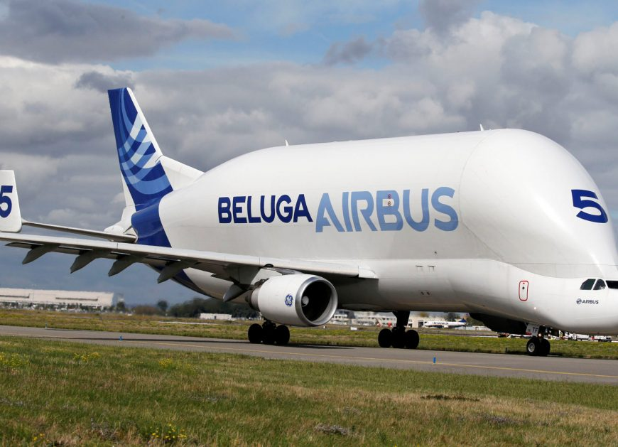 A Beluga transport plane belonging to Airbus is pictured in Colomiers near Toulouse, France, September 26, 2017.