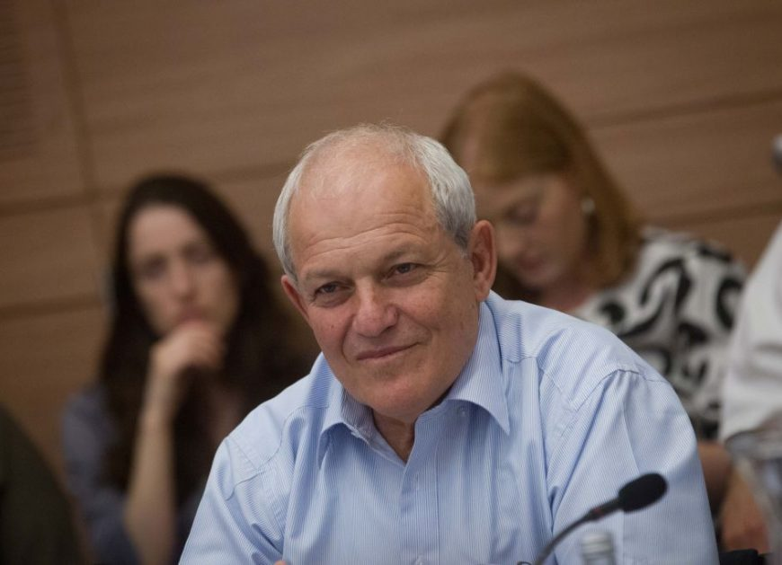 Social Affairs Minister Haim Katz attends a Labor and Welfare committee meeting in the Knesset, June 08, 2015.