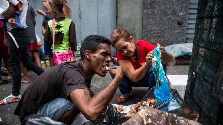 Venezuelans scavenging for food