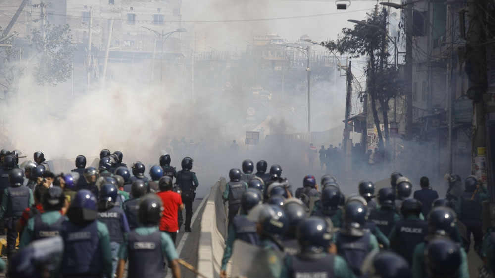 Police used tear gas to disperse BNP supporters in Dhaka.