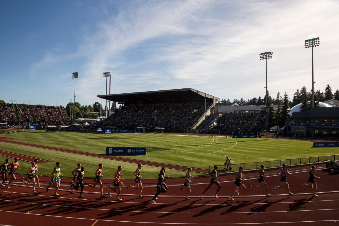 Hayward Field in Eugene, Ore., was chosen to host the 2021 world track and field championships. There was no bidding process.